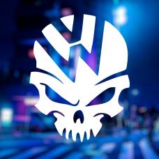 Наклейка с логотипом volkswagen на черепе