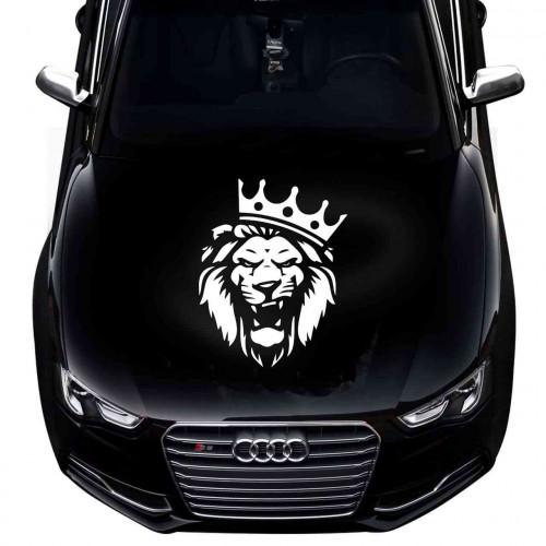 Наклейка на капот Лев - Царь зверей с короной
