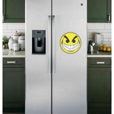 """Наклейка на холодильник Белая """"Злой смайлик"""""""