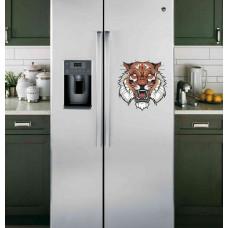 """Наклейка на холодильник Белая """"Злой тигр"""""""