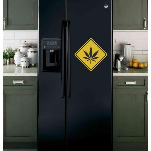 """Наклейка на холодильник Черная """"Лист"""""""