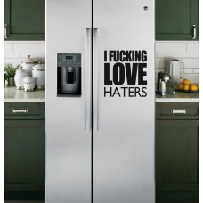 """Наклейка на холодильник """"I FUCKING LOVE HATERS"""""""