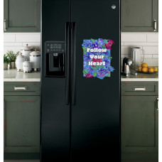 """Наклейка на холодильник Черная """"Follow your heart"""""""