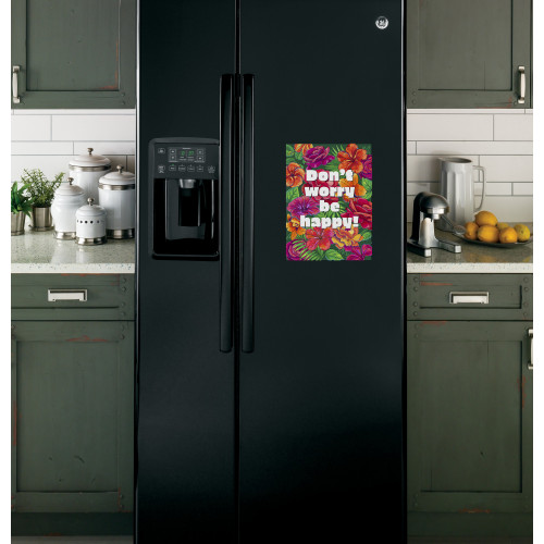 "Наклейка на холодильник Черная ""Dont worry by happy"""