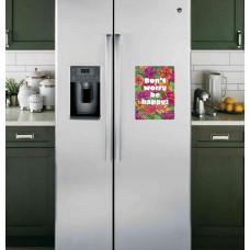 "Наклейка на холодильник Белая ""Dont worry by happy"""