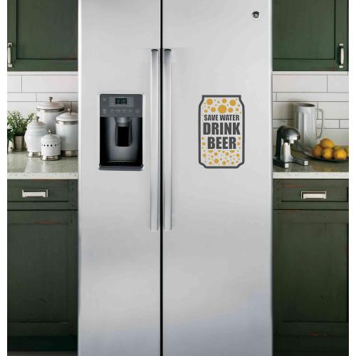 """Наклейка на холодильник Черная """"Drink beer"""""""