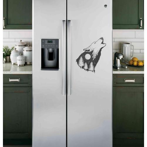 """Наклейка на холодильник """"Воющий волк"""""""