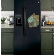 "Наклейка на холодильник Черная ""Will work for Brains"""