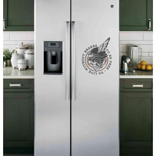 """Наклейка на холодильник """"To be free - to libe without brakes"""""""