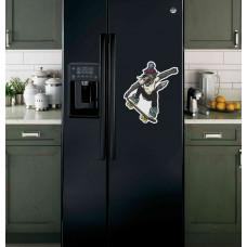 "Наклейка на холодильник ""Волк на скейте"""