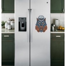 """Наклейка на холодильник Белая """"Волк и розы"""""""
