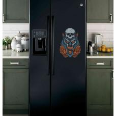 """Наклейка на холодильник Черная """"Волк и розы"""""""