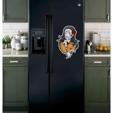 """Наклейка на холодильник Черная """"Девушка с лисой"""""""