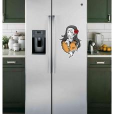 """Наклейка на холодильник Белая """"Девушка с лисой"""""""