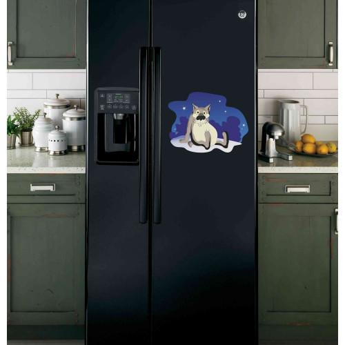 """Наклейка на холодильник Черная """"Волк из Жил был пес"""""""