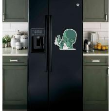 """Наклейка на холодильник """"Курящий Пришелец"""""""