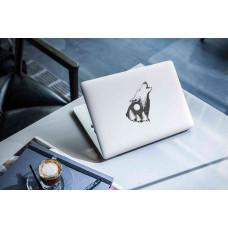 """Наклейка на ноутбук """"Воющий волк"""""""