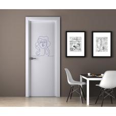 """Наклейка на дверь """"Зарисовка мультяшной девушки"""""""