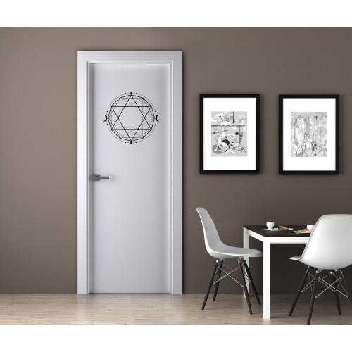"""Наклейка на дверь """"Фигура - шестиконечные звезды и полумесяцы"""""""
