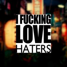"""Наклейка на авто """"I fucking LOVE haters"""""""