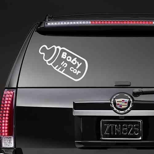Наклейка на авто Baba in Car Белая