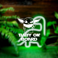 """Наклейка на авто """"Baby on board (Yoda)"""""""